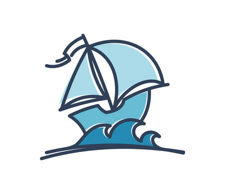 Cartoon sail ship. Boat with sails vector icon. 일러스트