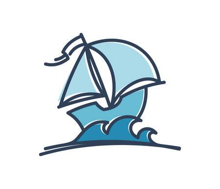 Cartoon sail ship. Boat with sails vector icon.
