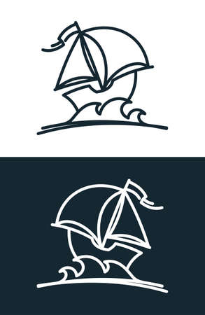 Cartoon boat outline silhouette. Ship with sails icon. Ilustracja