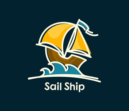 Cartoon ship with sails on darl blue background. Sail boat colored icon. 일러스트