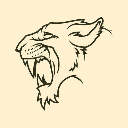 Silueta de contorno de cabeza de Puma. Icono de puma rugiente. Símbolo de vector de jaguar enojado. Gato montés con colmillos.