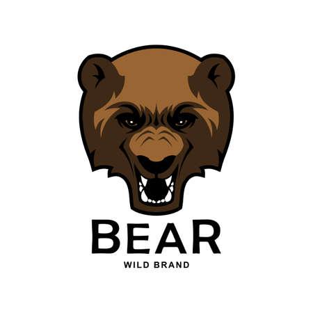 Angry bear head mascot. Bear logo design.