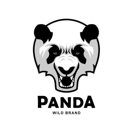 Angry panda bear head mascot. Panda logo design. Illustration