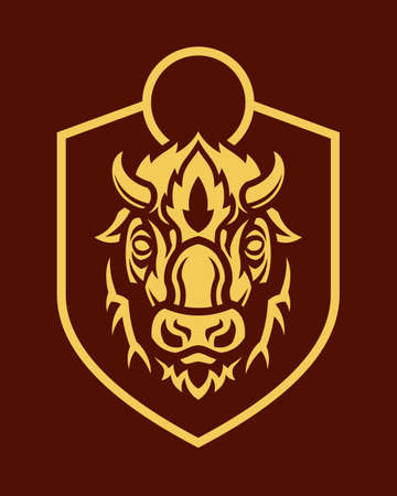 Stylized emblem of buffalo head outline silhouette with short horns on shield. Ilustração