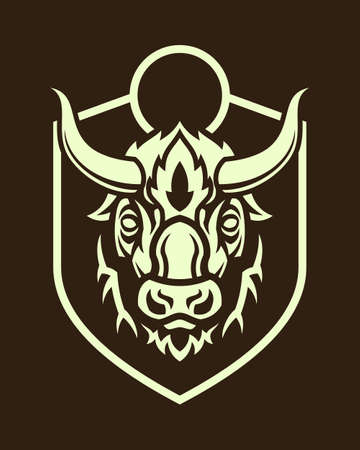 Stylized buffalo head emblem outline silhouette on dark background.