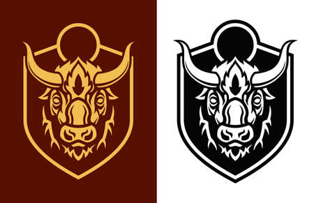 Stylized buffalo head outline silhouettes on shield. Bison icon Ilustração