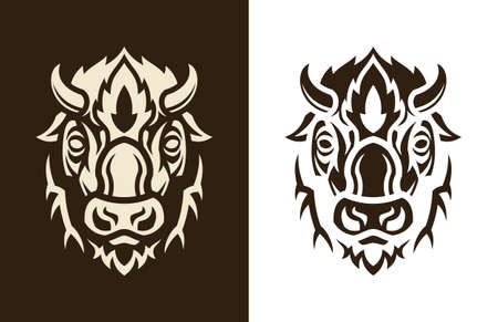 Stylized buffalo head vector outline silhouette. Bison icon character.