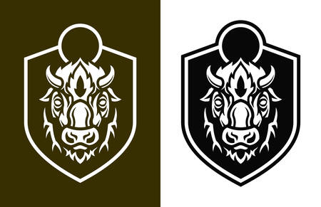Stylized buffalo head with short horns on shield. Vector outline silhouettes of bison. Ilustração