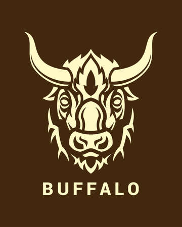 Stylized buffalo head with long horns on dark background Imagens - 104766267