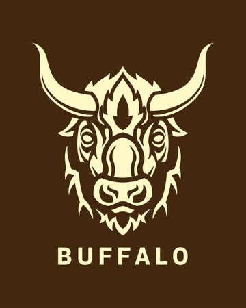 Testa di bufalo stilizzata con lunghe corna su sfondo scuro Vettoriali