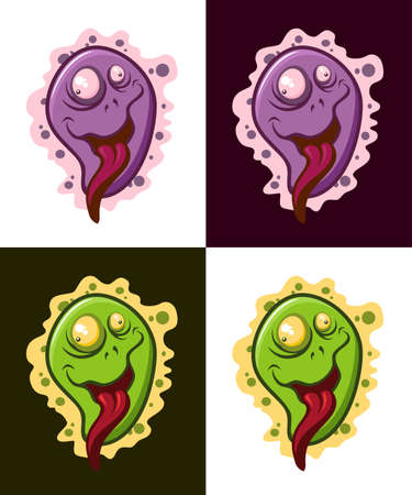 Cartoon virus character vector illustrations. Crazy microbe icons.  イラスト・ベクター素材
