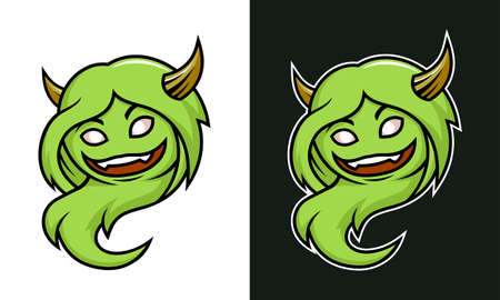 Vector female troll. Cute green monster sticker.