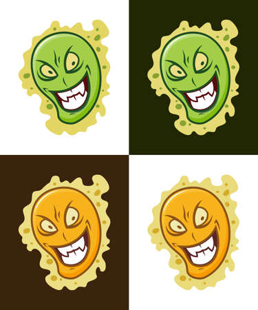 Cartoon virus character vector illustrations. Treacherous microbe icons.  イラスト・ベクター素材