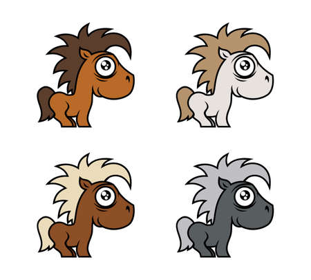 Cute little horses in various colors. Cartoon pony vector illustration.