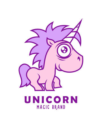 Unicorn cartoon magic character. Cute purple baby unicorn vector illustration. Çizim