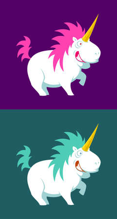 Cute unicorn vector illustration. Cartoon unicorns in various colors.