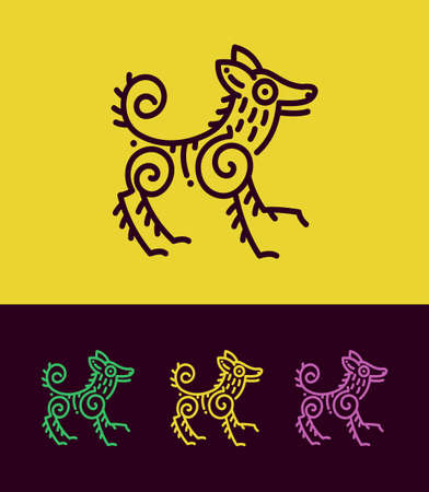 Dog vector illustration in ethnic style. Colored dog silhouettes stylized in ancient rock painting art.