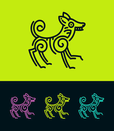 Dog vector illustration in Ecuadorian or Mexican ethnic style. Colored dog silhouettes stylized in ancient rock painting art.