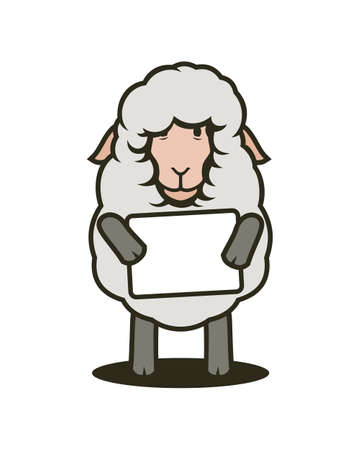 Cartoon sheep mascot with tablet. Sheep is holding plate with place for your text. Stock Illustratie