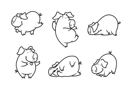 Pig outline silhouettes set. Cute pigs characters.