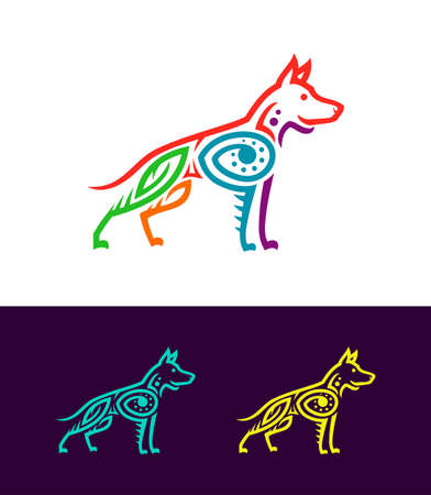 Dog vector illustration in Ecuadorian or Mexican ethnic style. Colored outline dog silhouettes stylized in ancient rock painting art.