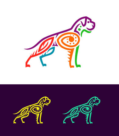 Dog vector illustration in colored Ecuadorian or Mexican ethnic style