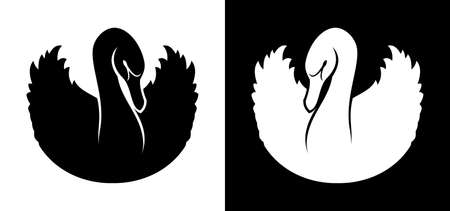 Black and white swan vector silhouette Ilustrace
