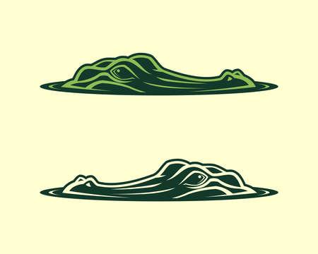 Faccia di alligatore che emerge dall'illustrazione di vettore dell'acqua Vettoriali