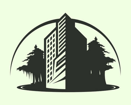 Vector icon with symbol of real estate business, construction, and architecture 向量圖像