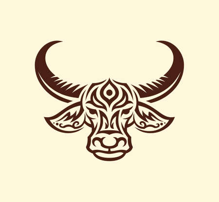 Stylized outline silhouette of water buffalo face. Patterned buffalo head front view vector icon.