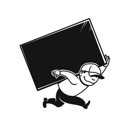 Loader man in cap carries a large box. Moving or delivery service icon with place for your text. Иллюстрация