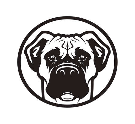 Outline silhouette of a dog head. Boxer or pitbull mascot vector icon.
