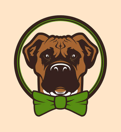 Cartoon head of boxer or pit bull dog with bow-tie in circle - vector character.