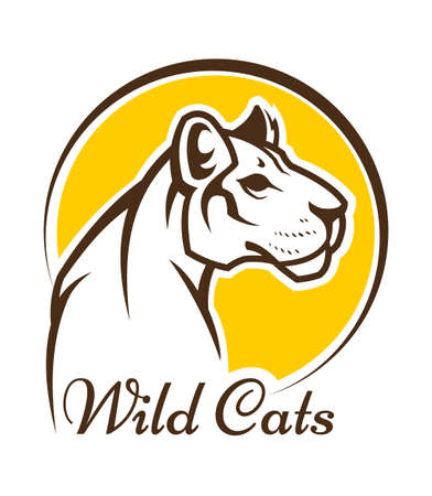 Signo de mascota de puma. Silueta de contorno vectorial de gato salvaje, pantera o leona