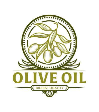 Icona stilizzata di ramo d'ulivo in cornice con foglie per etichetta olio d'oliva, emblema vettoriale con parte di testo sostituibile