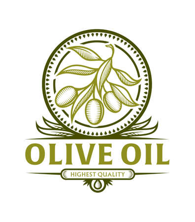 Stylized olive branch icon in frame with leaves for olive oil label, vector emblem with replaceable text part Иллюстрация