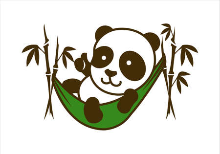 Cute little panda character in hammock with bamboo Ilustrace