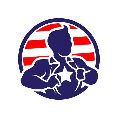 Vektorikone der patriotischen Superheldenmann-Silhouette, die sein Hemd öffnet, das einen Stern auf einer Brust zeigt.