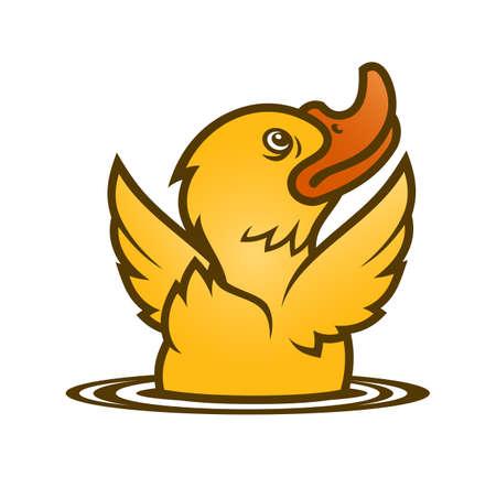 Cartoon baby duck emerging from water. Little yellow duckling vector character. Vektoros illusztráció