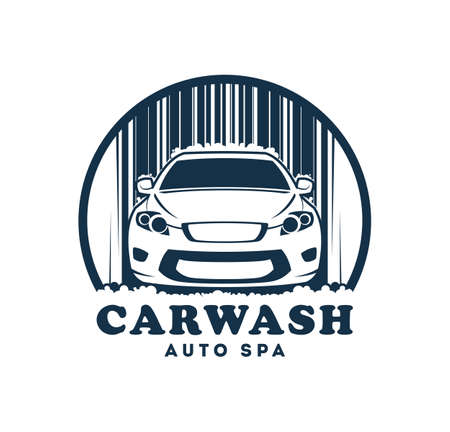 Car wash service icon. Car cleaning company symbol with replaceable text part.