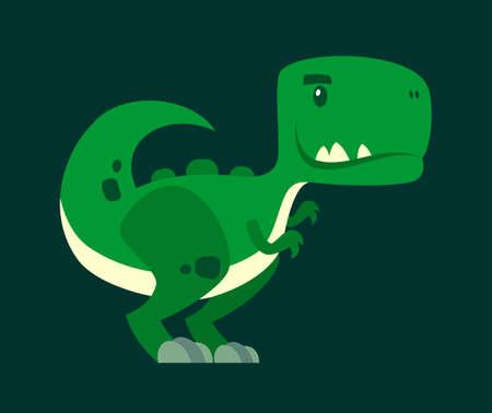 Mascota de personaje de dibujos animados lindo dinosaurio curioso vector verde
