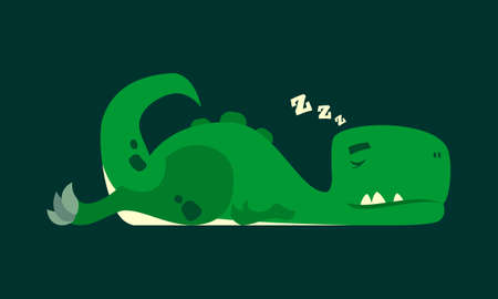 Cute green sleeping dinosaur vector cartoon character mascot