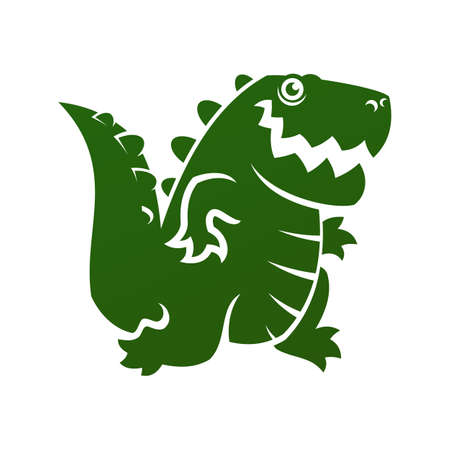 Cut out icon of cartoon alligator or dinosaur silhouette Иллюстрация