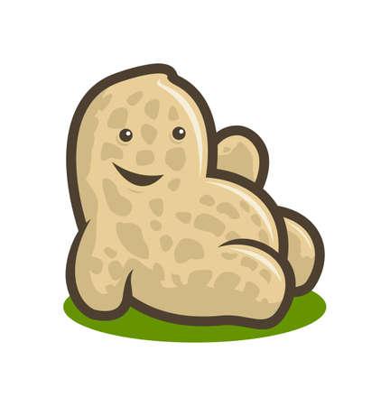 Mascotte de personnage de vecteur de dessin animé mignon cacahuète souriant