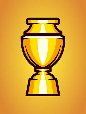 Shiny champion cup on golden background. Goblet winners trophy vector icon.