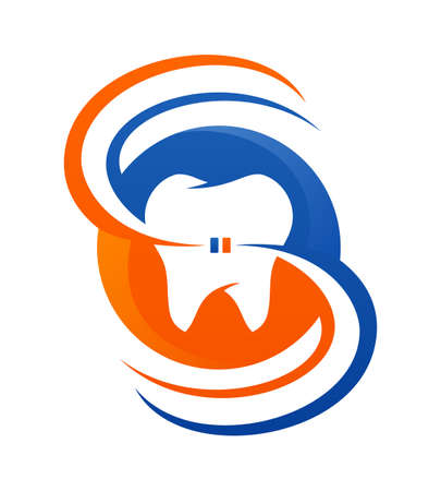 Dental care vector icon with stylized tooth symbol for dentistry company