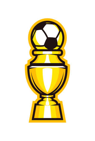 Golden cup soccer trophy icon. Football champion goblet vector symbol.