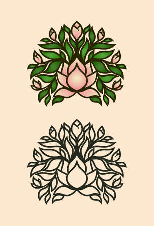Magnolia tree with flowers and buds - colored illustration and monochrome outline icon