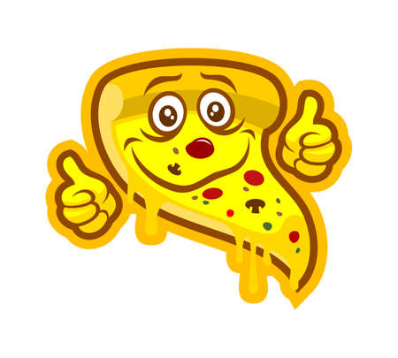 Smiling cartoon pizza vector character mascot with thumbs up