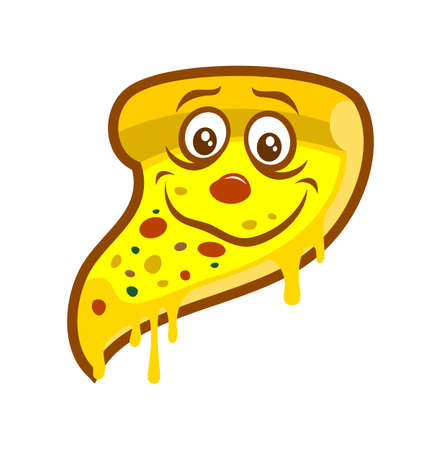 Cartoon pizza slice with melted cheese - smiling character mascot
